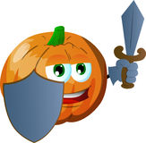 Pumpkin guard with shield and sword Stock Images