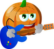 Pumpkin guitar player Royalty Free Stock Photography