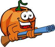 Pumpkin with a gun Royalty Free Stock Image