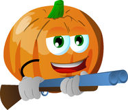 Pumpkin with a gun Royalty Free Stock Images