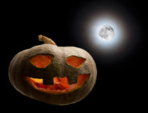 Pumpkin hallowed moon. Halloween Stock Images