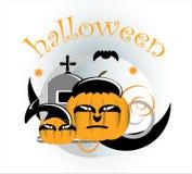Pumpkin in halloween. Two pumpkin with bat  in halloween Stock Photos