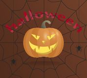Pumpkin for Halloween. Angry smile with fangs. On a brown background with a spider web and spiders. royalty free illustration