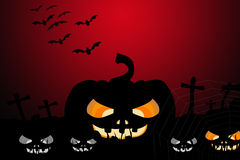 Pumpkin and Halloween background. Black Pumpkin and Bat on graveyard background ,Halloween concept Royalty Free Stock Photo