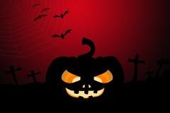 Pumpkin and Halloween background. Black Pumpkin and Bat on graveyard background ,Halloween concept Royalty Free Stock Photography