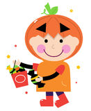 Pumpkin halloween boy Royalty Free Stock Photo