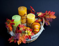Pumpkin for Halloween with candles in the basket Stock Photo