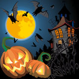 Pumpkin Halloween Card. With bat, old house and moon Stock Illustration