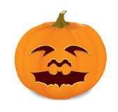 Pumpkin. Halloween pumpkin with a carved bat Royalty Free Stock Photo