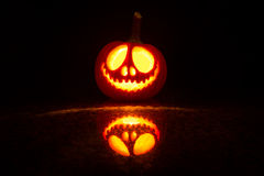 Pumpkin halloween. Pumpkin carved with candle light for halloween Stock Photos