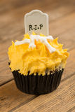 Pumpkin Halloween cupcake close-up Royalty Free Stock Images