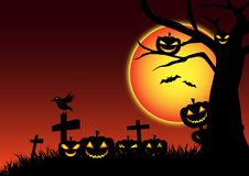 Pumpkin halloween day festive background, ghost nightmare cartoon vector illustration