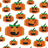Pumpkin halloween different emotion seamless texture Royalty Free Stock Photos