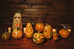 Pumpkin for Halloween. The eve of the holiday. Preparation for the event. Lamps of pumpkin prepared for Halloween stock photography