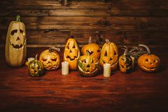 Pumpkin for Halloween. The eve of the holiday. Preparation for the event. Nine pumpkins for Halloween. Lamps of pumpkins stock photography