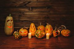 Pumpkin for Halloween. The eve of the holiday. Preparation for the event. Nine pumpkins for Halloween. Lamps of pumpkins Royalty Free Stock Photo