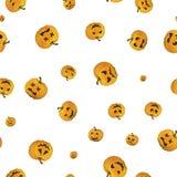 Pumpkin halloween faces on white seamless pattern Royalty Free Stock Photos