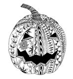 Pumpkin for Halloween. Hand drawn picture, zentangle, vector Royalty Free Stock Photography
