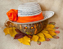 Pumpkin for Halloween in a hat Royalty Free Stock Photography
