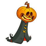 16pumpkin. Halloween pumpkin head ghost in black hood. Vector illustration isolated on white Royalty Free Stock Images