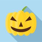 Pumpkin on halloween icon, flat style Royalty Free Stock Photo