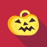 Pumpkin on halloween icon, flat style Royalty Free Stock Photos