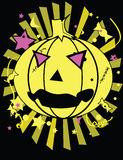Pumpkin halloween image. Pumpkin with candy and stars in yellow and pink on a black background vector illustration
