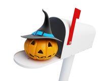 Pumpkin halloween in the mailbox Royalty Free Stock Photos