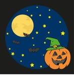 Pumpkin in halloween night. Illustration of a funny pumpkin in a dark halloween night Royalty Free Stock Photography