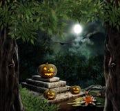 Pumpkin Halloween on old stone grave Stock Photos