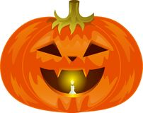 Pumpkin. For Halloween, orange vegetable,  inside lit by candle, sinister smile, sharp fangs, yellow light, autumn vegetable, green stalk, big mouth Royalty Free Stock Photos