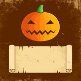 Pumpkin Halloween and paper scroll Stock Photo