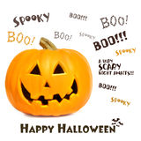 Pumpkin with halloween phrases on white. Background Royalty Free Stock Images