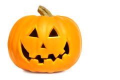 Pumpkin with halloween phrases on white stock photo