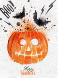 Pumpkin halloween poster. With lettering stylized drawing vintage style Royalty Free Stock Photo