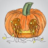 Pumpkin for Halloween with seeds dropped out through the eyes Stock Image