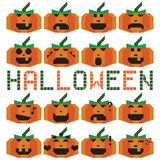 Pumpkin halloween set different emotion. On the white background Stock Photography