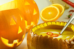 Pumpkin halloween soup Royalty Free Stock Photography