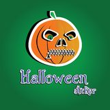 Pumpkin Halloween. Sticker on the green backgroung. Vector illustration Stock Image