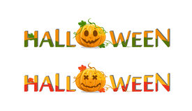 Pumpkin with halloween text Royalty Free Stock Images