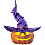 Pumpkin. Halloween pumpkin and the witch hat. Isolated on white background. 3D illustration Royalty Free Stock Photos