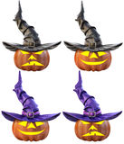 Pumpkin. Halloween pumpkin and the witch hat. Isolated on white background. 3D illustration Stock Photos