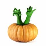 Zombie monster Pumpkin halloween hands Royalty Free Stock Image