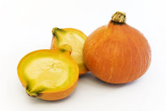 Pumpkin with halves. Orange pumpkin with two halves stock images