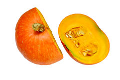 Pumpkin in halves Stock Images