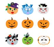 Pumpkin HAPPY HALLOWEEN cartoon characters for cards Stock Images