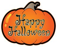 Pumpkin with Happy Halloween sign Stock Images