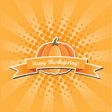 Pumpkin with Happy Thanksgiving banner and pop art background Royalty Free Stock Photography