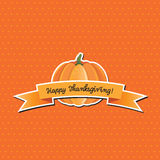 Pumpkin with Happy Thanksgiving banner Stock Photography