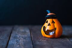 Pumpkin in a hat with a face stock image